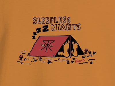 Sleepless vibes camp logo sports action illustration design revival roark