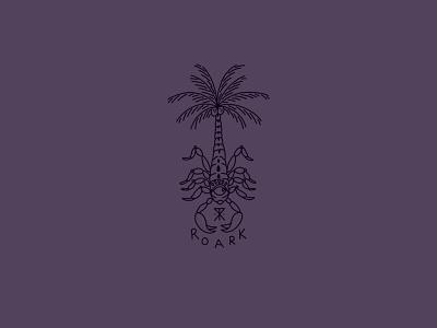 Palmstings tree palm scorpion graphic sports action illustration design revival roark