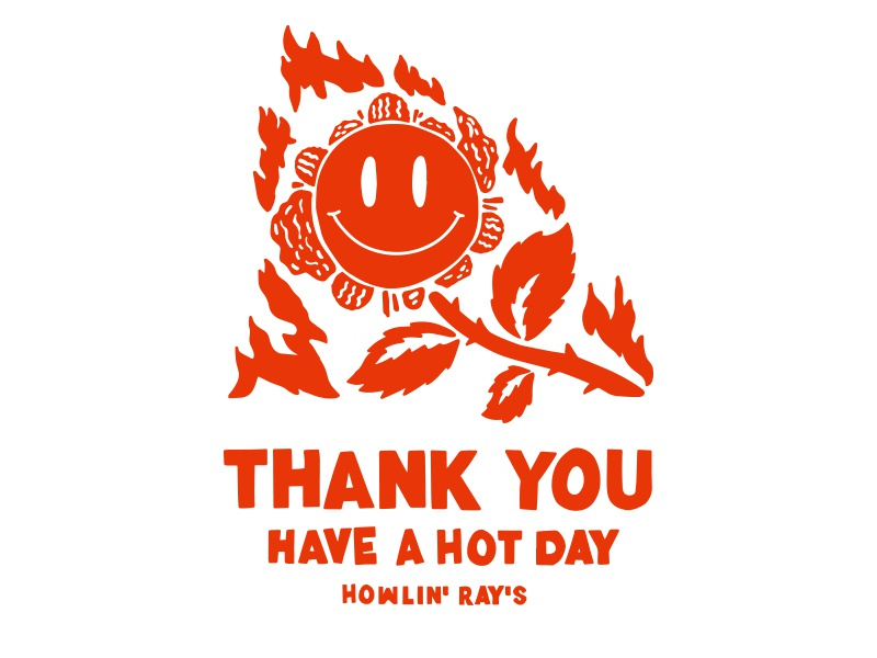Hot day typography chicken layout rays howlin design illustration