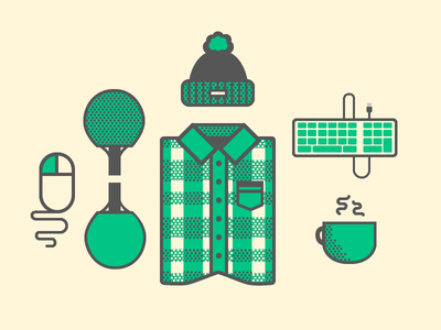 A Rounded Winter clean rounded green winter ping pong coffee party illustration simple plaid