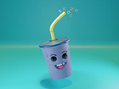 Happy Soda Cup cup soda render eevee happy 3d artist 3d 3dartist 3d art blendercycles blender3dart blender 3d blender
