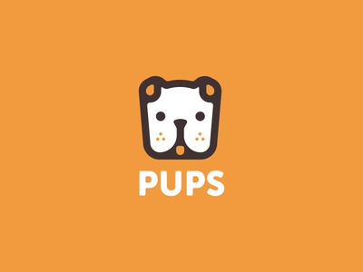 Pups Logo W/ Color icon illustration identity logos branding thirty logos puppy dogs pups