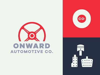 Onward Automotive Co. branding clutch brake gas steering wheel engine logo auto car onward automotive