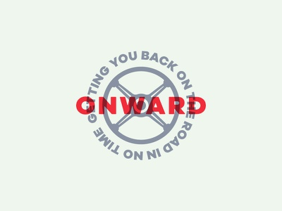 Onward Automotive Co Secondary Logo branding clutch brake gas steering wheel engine logo auto car onward automotive