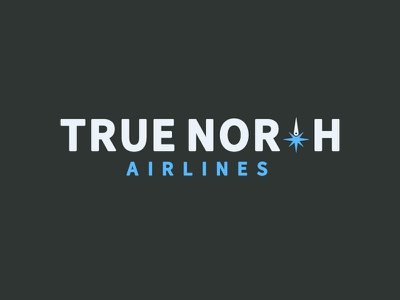True North Airlines V2 airline aviation airplane compass fly jet true north flight travel logo branding