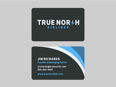 True North Airlines branding logo airline business card airplane print fly jet true north flight travel