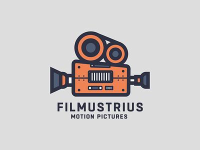 Filmustrius Motion Pictures motion pictures movie production camera illustration film branding logo