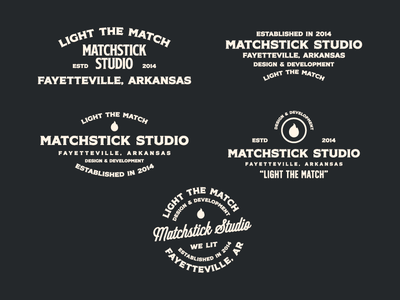 Matchstick Studio Lockups flame lit arkansas fayetteville design lockups branding logo studio
