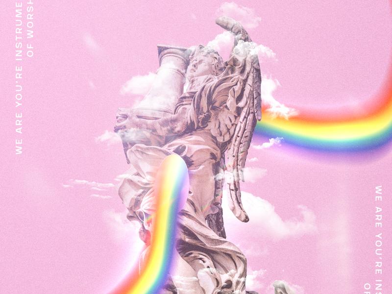 Instrument of Worship statue god rainbow design creative photoshop photo manipulation