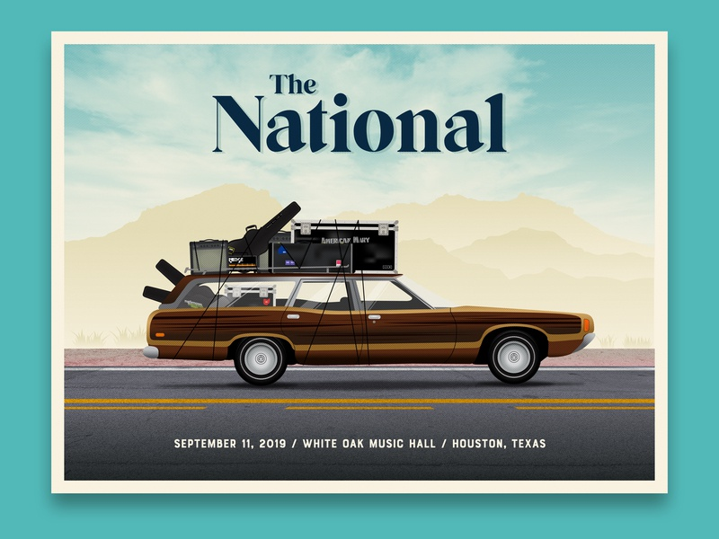 The National gig poster - Houston, TX skillshare dkng studios dkng music highway halftone poster illustration concert poster gig poster the national