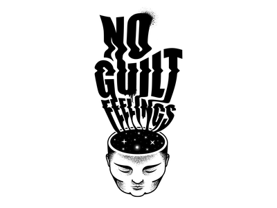 No Guilt - typography distortion black and white typography dotwork dots black  white vector illustration design