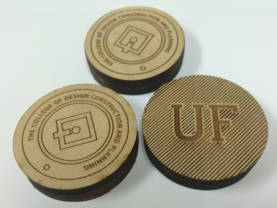 UF Laser Etched Tokens laser etching bass wood icon diagonals badge
