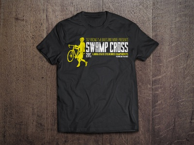 Swamp Cross wood grain cycle cross yellow charcoal t-shirt cycling
