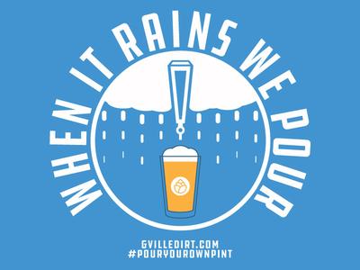 When It Rains We Pour hashtag circle type rain tap beer blue