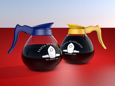 DMT Coffee Pots newbie cinema 4d 3d red blue orange reflections glass coffee coffee pot