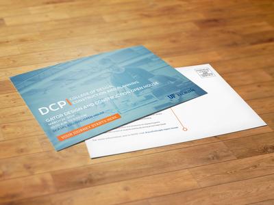 DCP Postcard #1 uf blue orange marketing post card