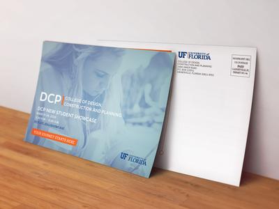 Postcard #2 for college advisors blue orange post card. uf