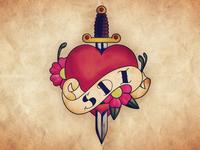 Knife through the heart tattoo
