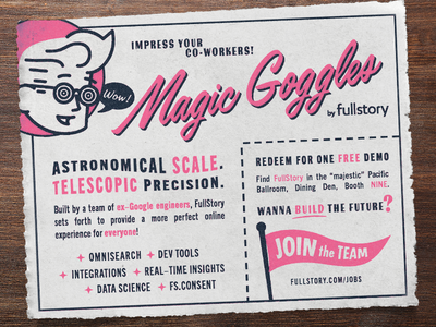FullStory is gonna be at GopherCon ad comic book skeuomorphism print retro gopher go