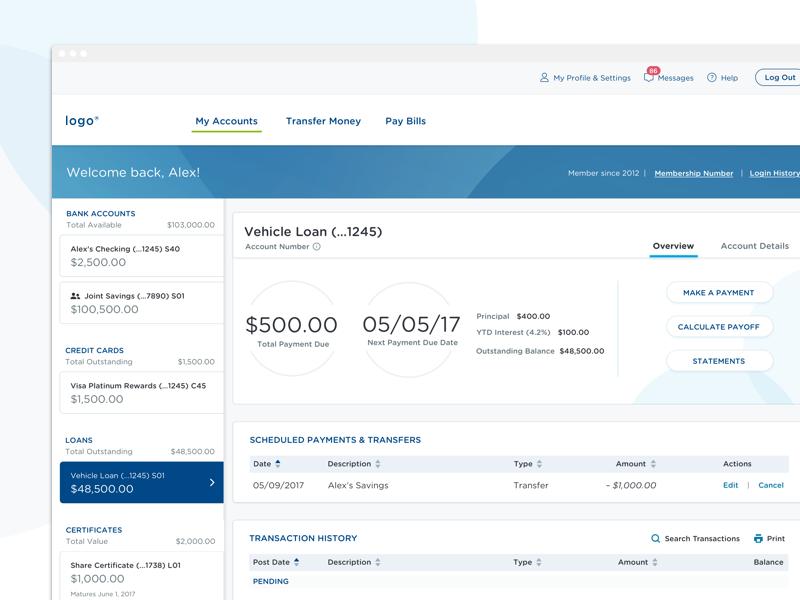 Online Banking Dashboard graphs tables finance banking left rail navigation dasboard ui
