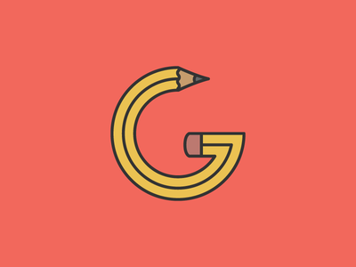 G Pencil flat lettering typography design letter icon logo