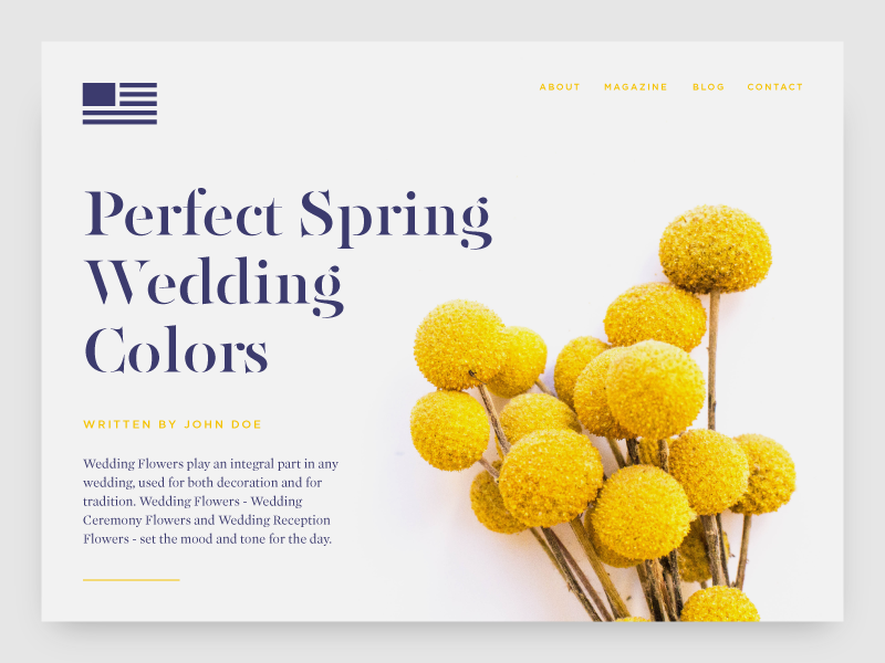 Wedding Flowers Website Concept web design yellow typography branding flowers layout wedding