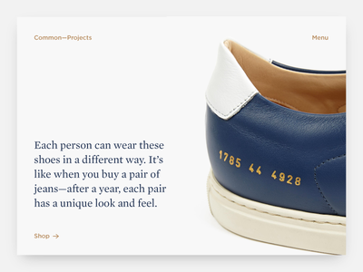 Common Projects web design cp ui ux typography design web shoes