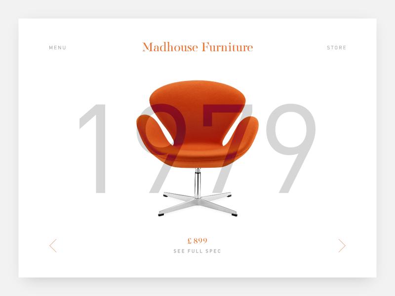 Madhouse Furniture web design branding website orange eames furniture chair