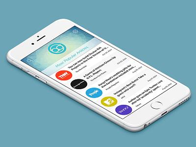Ebbu Landing Screen application articles list mobile