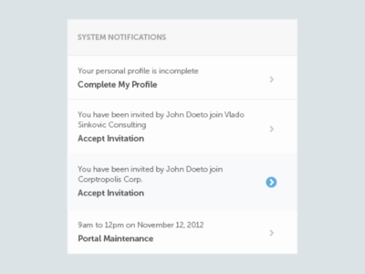 Notifications with hover state sidebar ui hover messages notifications