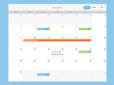 Calendar Concept application web app ui calendar