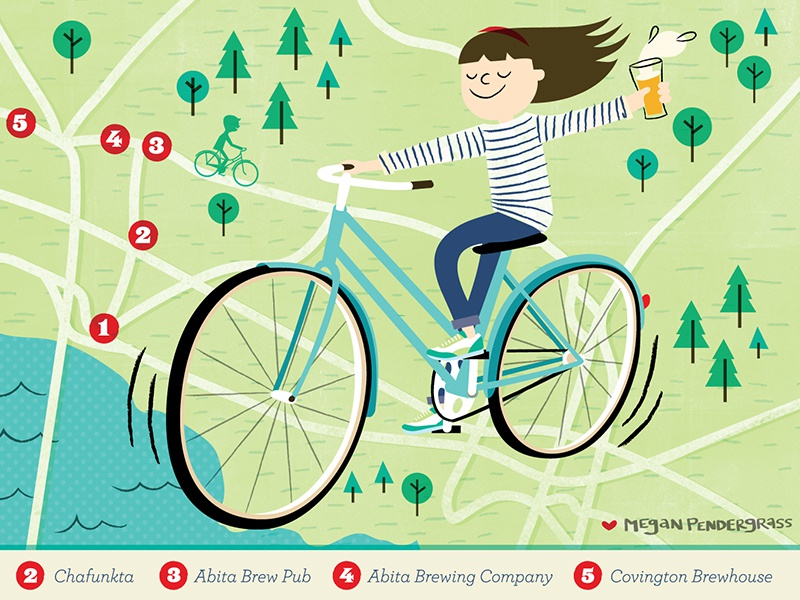 Edible Magazine Illustration illustration bikes bicycle map beer