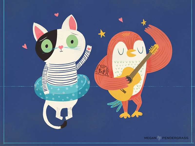 WIP Owl & the Cat wip characters illustration cat owl