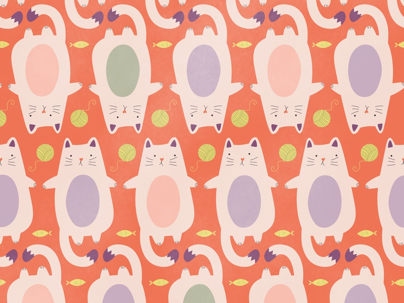 National Cat Day Pattern illustration pattern cats