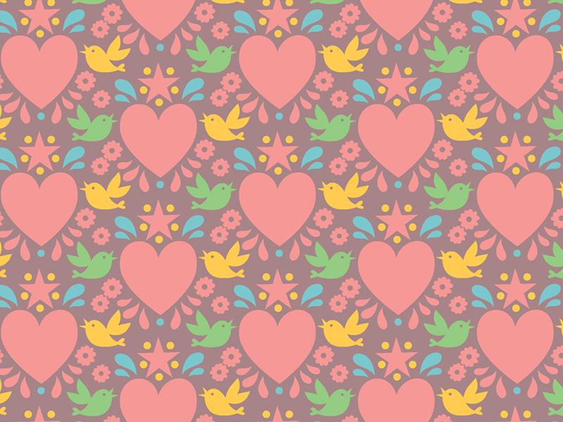 Today's pattern <3 girlie hearts birds pattern