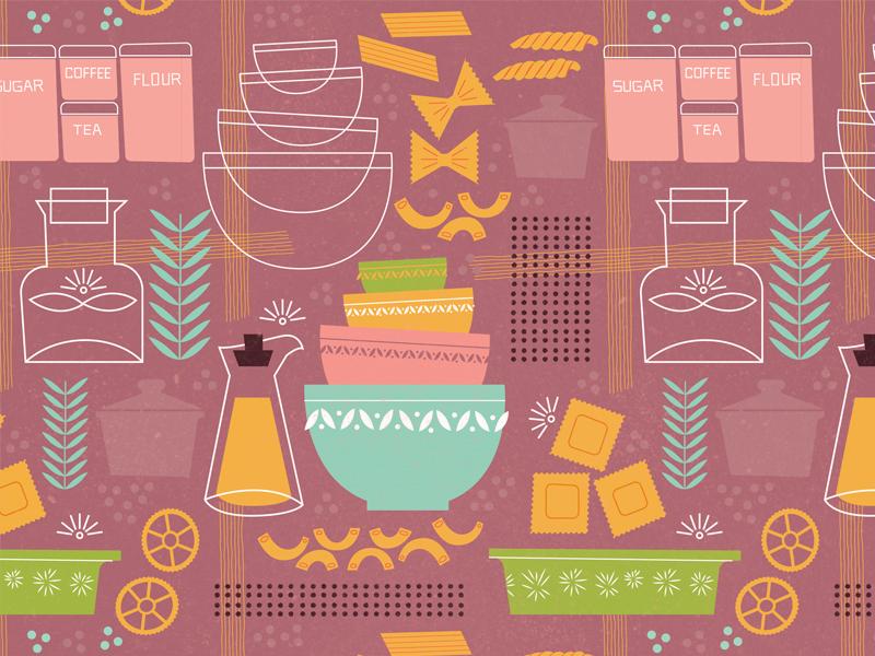 Vintage kitchen pattern pyrex pasta kitchen illustration pattern