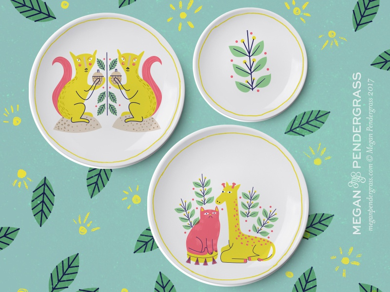 home decor mock leaves squirrel cat plates home decor illustration