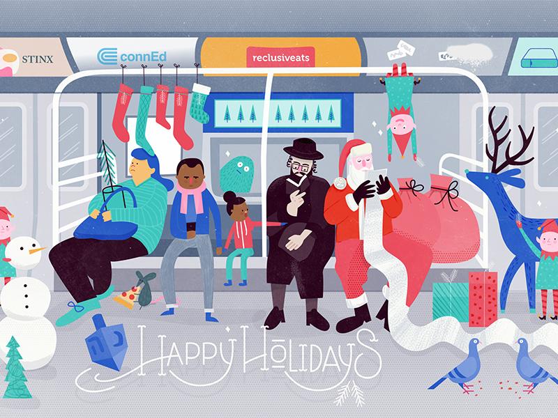 Happy Holidays from New York elves christmas subway new york santa holidays