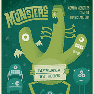 Monsters monsters comedy show illustration