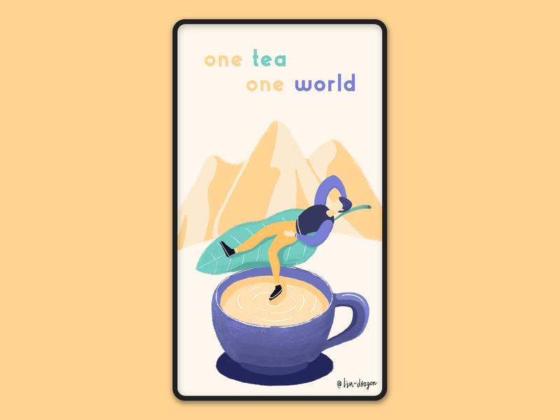 one tea one world mountain cup tea design flat color illustration