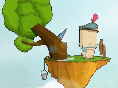 Post Island wallpaper verde vector vectatory[ sol personajes personaje monstruo monster ilustración ilustracion illustration illustracion green diseño design character azul sky cielo correo post mail viaje travel island isla cartero postman