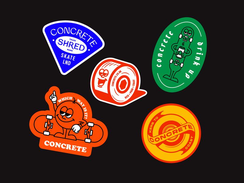 Concrete sticker concepts education streetwear stickers logo homepage cards branding illustration briefs briefbox