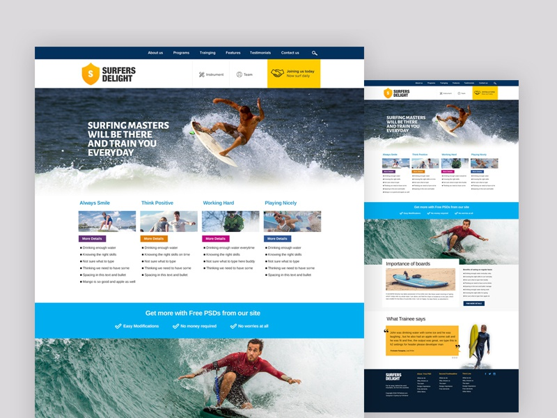 Surfers Free Website Psd File photoshop free freebie surf clean web ui website freewebsite webdesign freepsd