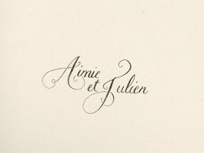 Aimie & Julien calligraphy ink lettering