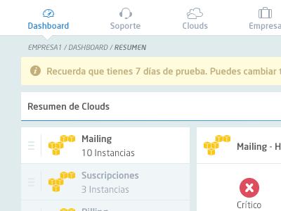 Nubity - Dashboard Detail dashboard server listing status data cloud ux ui