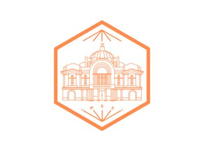 Nodeschool MX meetup nodeschool orange mexico building icon sticker culture code school node df