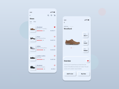 Neumorphism UI Trend 2020 - E-commerce ios mobile app screens