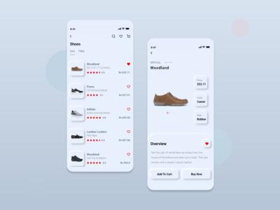 Neumorphism UI Trend 2020 - E-commerce ios mobile app screens
