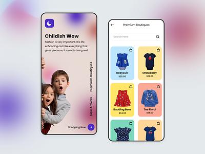 Kids Shop App branding logo shoping uidesign uiux webdesign typogaphy simpledesign rijurajan designs mobile app ui kids app gradient dribbble dress clean ui card app