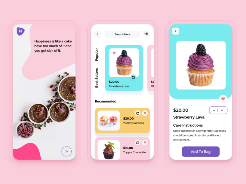 Cake shops mobile app card cart app mobile app images creative concept rijurajan uiux cake shop cakeapp clean gradient all dribbble web design ui typography branding simple